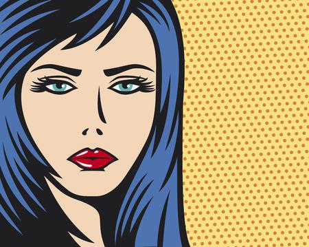 pop art woman Illustration  beauty woman face pop art illustration, pop art illustration of a girl, pop art woman face  Vector