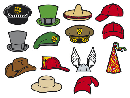collection of hats  gaelic helmet with wings, military beret, firefighter helmet, saint patrick s day leprechaun hat, sombrero, cowboy hat party hat, birthday hat, baseball cap, military hat  Vector