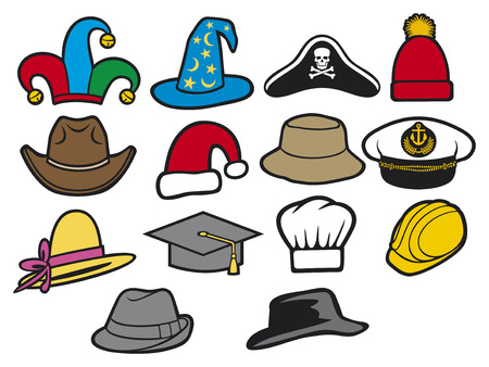 collection of hats  jester hat, bucket hat, lady s hat, cowboy hat, fedora hat, santa claus hat, construction workers hard hat, military officer s cap, wizard hat, graduation cap, chef hat  Vector