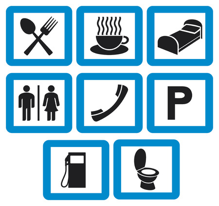 breakfast in bed: hotel icons set - hotel signs  petrol station, phone receiver, fork and spoon, man and woman WC sign, toilet symbol, coffee cup icon, parking sign, restaurant sign