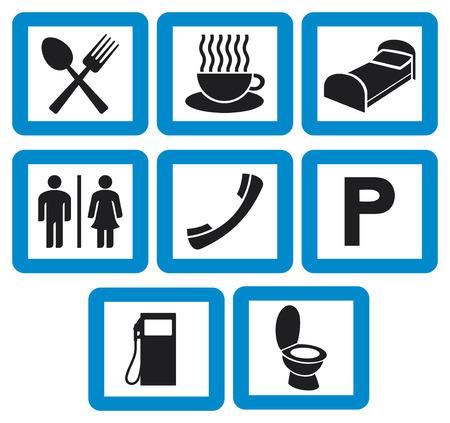 simbolo uomo donna: icone Hotel set - stazione di indicazioni per l'hotel benzina, ricevitore del telefono, forchetta e cucchiaio, uomo e donna WC segno, simbolo WC, icona tazza di caffè, parcheggio, ristorante segno