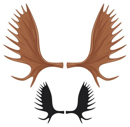 hoorns van elanden moose gewei Stock Illustratie