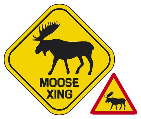 道路を横断ムース署名ヘラジカの道路標識、ムースの横断歩道の標識、ムースの踏切の警告のサイン、ムースのシンボル  イラスト・ベクター素材