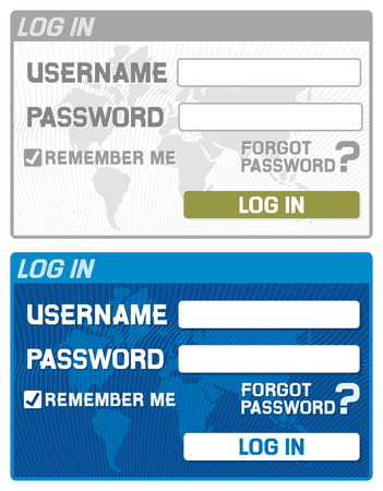 log in form with username and password fields  registration form design  Vector