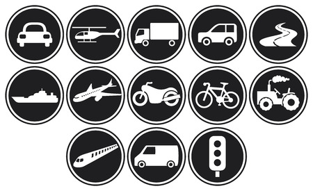 cargo truck: transportation icons set