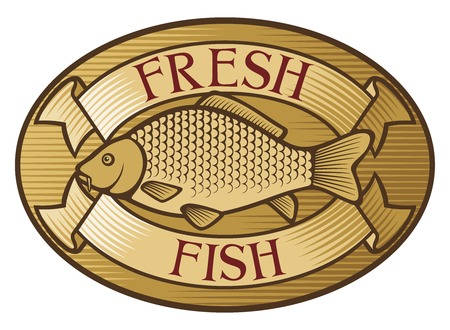 common carp: fresh fish label  fresh fish symbol  Illustration