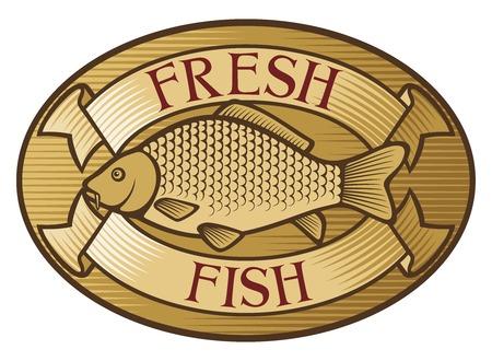 common carp: fresh fish label  fresh fish symbol  Illustration