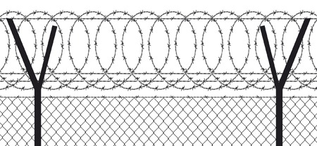 barbed wire fence: barbed wire  wired fence