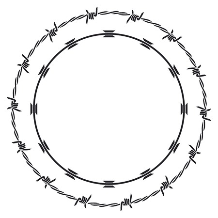 wire fence: barbed wire Illustration