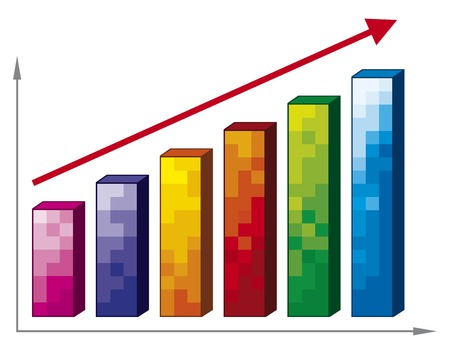 business graph with arrow  positive business graph  Vector