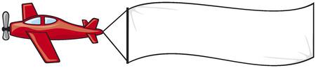 Plano con el avión bandera con la bandera en blanco Foto de archivo - 30731693