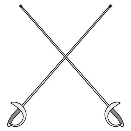 thrusting: crossed fencing swords