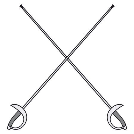 swordsmanship: crossed fencing swords