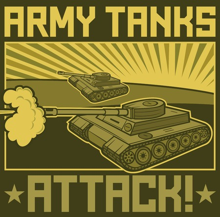 regiment: military tanks poster (tanks in action design, army tanks attack poster)
