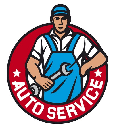 car mechanic: auto service label (car service symbol, auto mechanics - professional worker, car mechanic worker, auto mechanics)