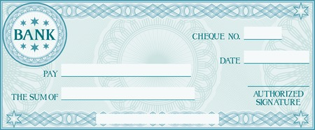 check with space for your own text (bank cheque, bank cheque blank for your business, blank check, blue business check) Vector