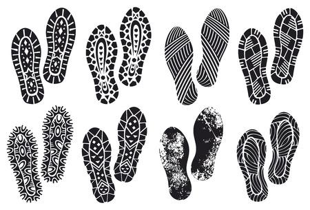 huellas pies: la colecci�n de una huella soles zapatos (grabados �nicos, vector negro rastro del pie, huella de zapato, zapatos silueta)