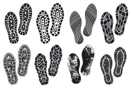 the collection of a imprint soles shoes (sole prints, black vector trail foot, shoe print, shoes silhouette) Illustration