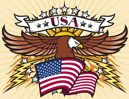 Flying eagle with USA flag (Eagle holding flag of United States) Vector
