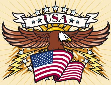 Flying eagle with USA flag (Eagle holding flag of United States)