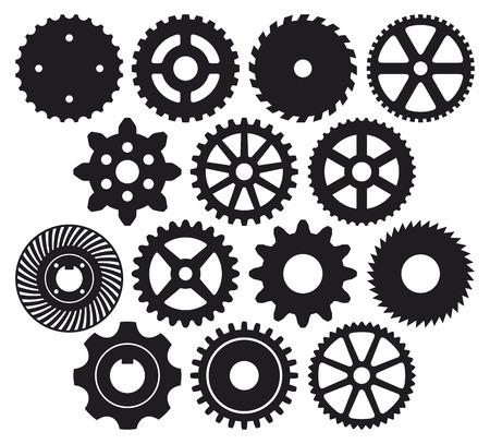 engranaje de la máquina de recolección de engranajes (vector de rueda dentada, conjunto de ruedas dentadas, colección de engranaje de vector) Ilustración de vector