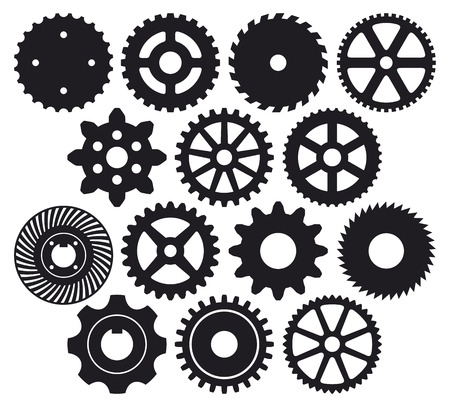 gear collection machine gear (wheel cogwheel vector, set of gear wheels, collection of vector gear) Vector
