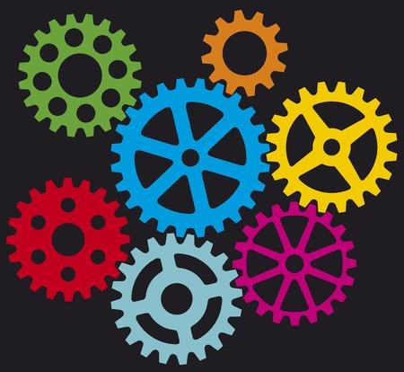 成長している歯車 (プロセスの歯車)  イラスト・ベクター素材
