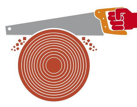 serrucho: el corte de árboles con sierra de mano (la mano con sierra de mano)