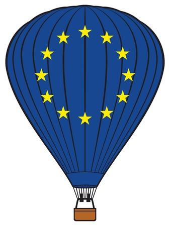 evropský: Hot air balloon with European Union flag European Union flag hot air balloon Ilustrace
