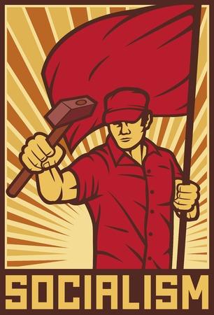 trabajador que sostiene la bandera y un martillo - cartel industria (diseño industrial, trabajador de la construcción, cartel para el Día del Trabajo) Ilustración de vector