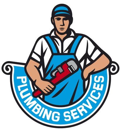 fontanero que sostiene una llave - servicios de plomería (fontanero que sostiene la llave inglesa, trabajador plomero, reparación de plomería etiqueta)