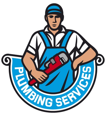 plumbing tools: plumber holding a wrench - plumbing services (plumber holding monkey wrench, plumber worker, repair plumbing label) Illustration