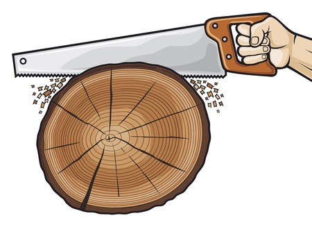 cutting tree with hand saw (hand with hand saw)