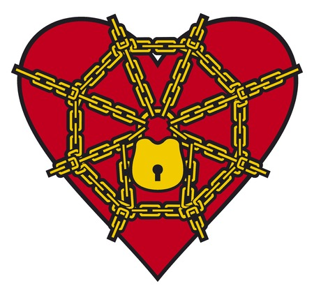 chained: red heart locked with chain locked heart