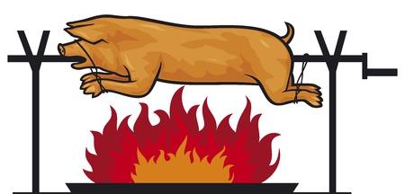 cocineros: cerdo asado en un asador (cerdo a la parrilla en el fuego) Vectores