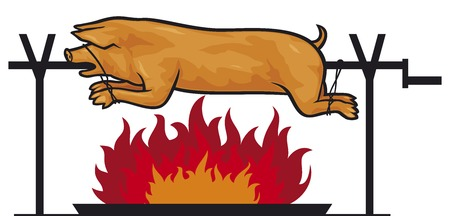 spanferkel: gebratenes Schwein am Spie� (gegrilltes Schwein auf dem Feuer) Illustration