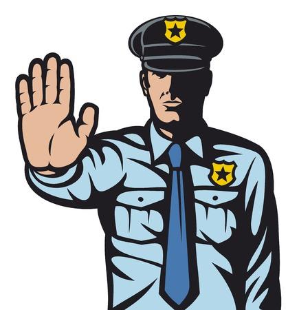 insignias: hombre de la policía gesticulando señal de stop (pare la muestra por un hombre de la policía, oficial de policía está haciendo señal de parada con la mano) Vectores
