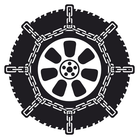 winter tyre with snow chains (tire with snow chains)