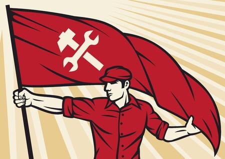 gewerkschaft: Arbeitnehmer, die eine Fahne - Industrie Poster (Industriedesign, Bauarbeiter, Plakat für Tag der Arbeit)