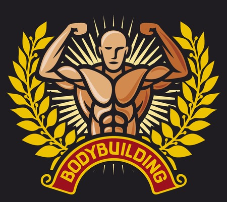 sculpted: bodybuilding badge (bodybuilding symbol, bodybuilding label, weight lifter)