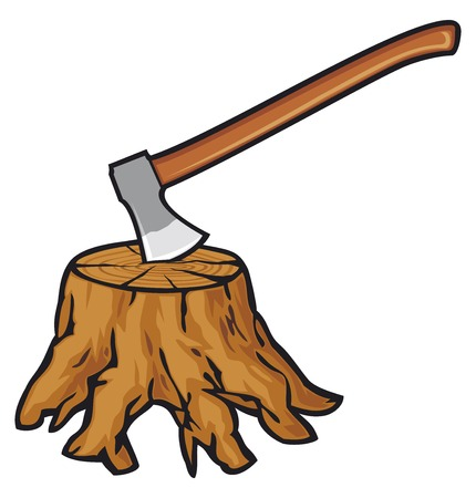 sawed: old tree stump with roots and axe Illustration