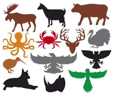 eagle flying: set of animals silhouettes flying eagle, kiwi, cow, moose, goat, turkey, rhino head, octopus ocean, deer head, owl, crab, parrot flying, dog Illustration