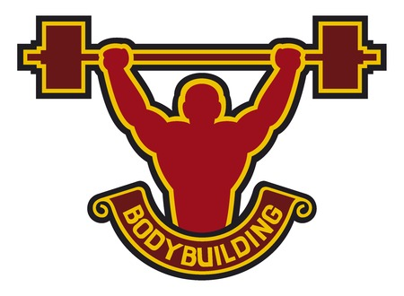 lifter: bodybuilding badge - weightlifter (bodybuilding label, body builder lifting a dumbbell, weight lifter)