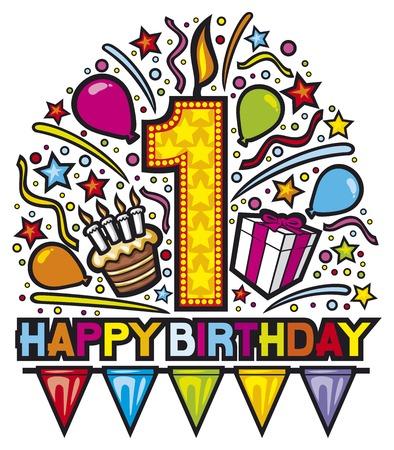 Felice disegno primo compleanno (felice festa di compleanno, etichetta buon compleanno, carta di compleanno) Archivio Fotografico - 39881077