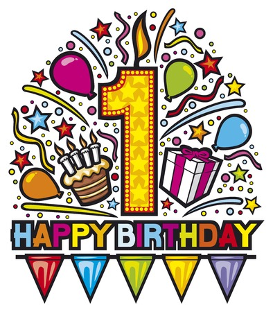 Première conception heureuse d'anniversaire (de fête d'anniversaire heureuse, l'étiquette de joyeux anniversaire, carte d'anniversaire) Banque d'images - 39881077
