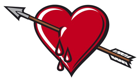 red love heart with flames: heart with arrow design Illustration