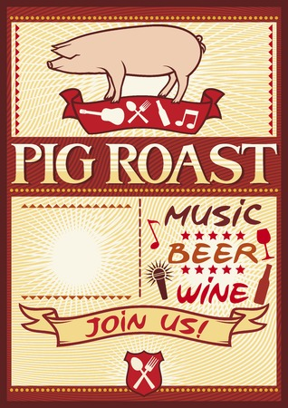 pig roast poster (barbecue party design, bbq barbecue poster)