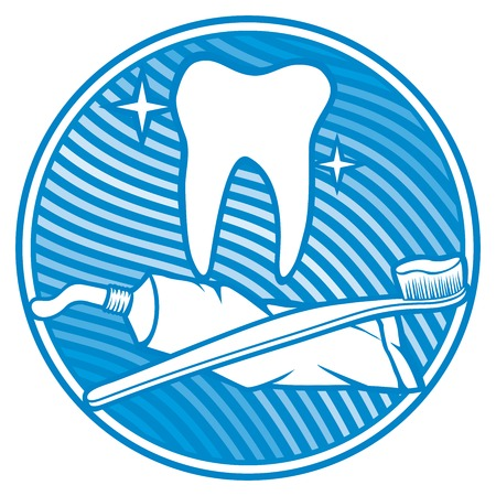 fluoride toothpaste: dental icon (dental symbol - tooth, toothbrush and toothpaste)