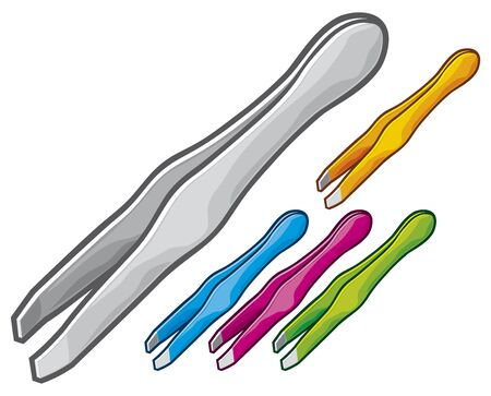 tweezers: set of steel tweezers Illustration