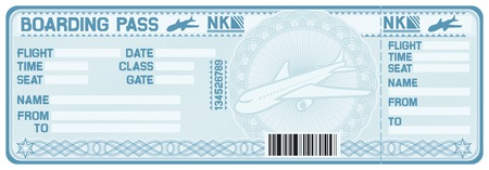 commercial airline: airline boarding pass tickets (plane ticket)